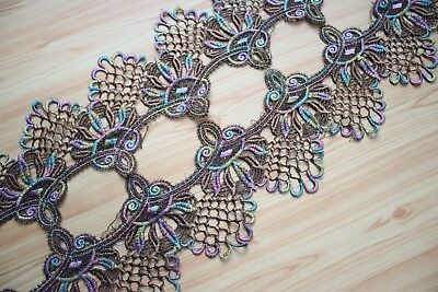 Floral Venise Embroidery Lace Trim in Metallic Gold+Rainbow Color  Per Yard
