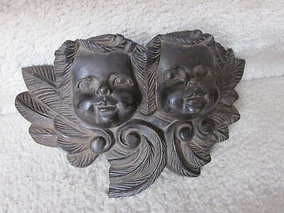 Antique Walnut Carved Cherubs Architectural Decorative Wall Art