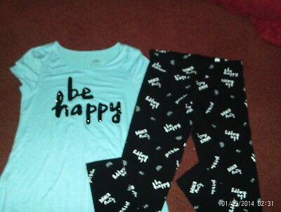 justice-- girls size 12---2 piece Be Happy leggings and top set--nwt