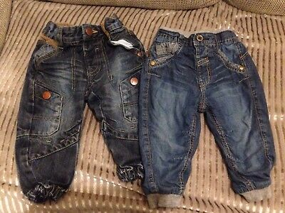 2 Pairs Of Boys Jeans Next And George 9-12m