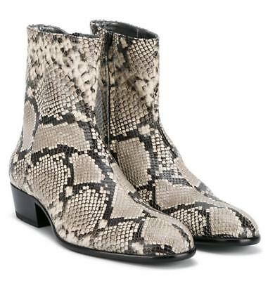 33dbf389dd Men Snake Skin Pattern Chelsea Ankle Boots Leather Pointy Toe Leisure Shoes  G409