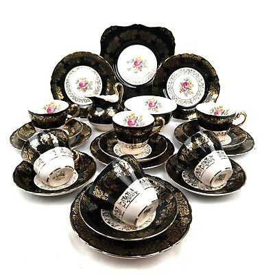 Tuscan Pink, Black And Gold Vintage Tea Set For Six Tea Cup Trio Floral 21 Piece