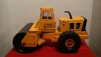 VINTAGE 1970s MIGHTY TONKA PRESSED STEEL LARGE STEAM ROLLER TRUCK