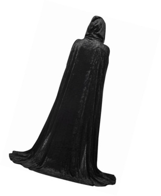 Extra Long Halloween Cape for Adults Black Hooded Cloak Coat Long Wicca Robe