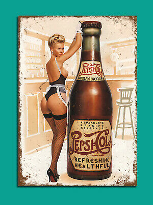 Pepsi pin up vintage retro style plaque kitchen pub bar metal sign tin man cave