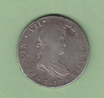 1813-JJ Spanish Colonial Mexico 8 Reales Silver Coin - Ferdinand VII - VF
