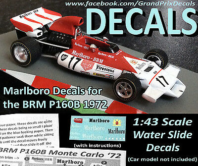 Formula 1 car collection BRM P160B Marlboro water slide decals 1:43 scale F1 IXO