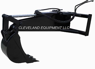 "NEW STIFF ARM BACKHOE ATTACHMENT W/ 12"" TOOTH BUCKET Skid Steer Loader Excavator"
