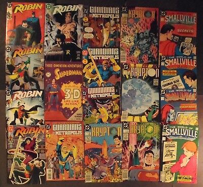 World Of Smallville 1-4, Robin (1991) 1 - 5, World Of Krypton 1 - 4, more..18 DC