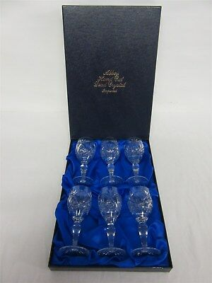 Jones glass 'Abbey' hand-cut lead crystal sherry glasses - Set of 6 - Boxed