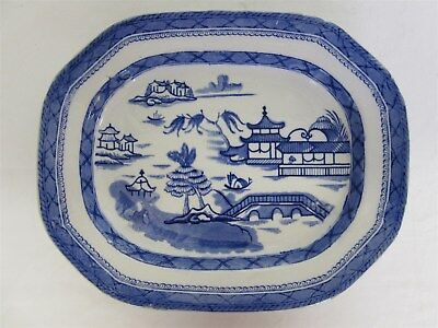 """Vintage blue willow pattern meat/serving dish - 14.5"""" by 12"""""""