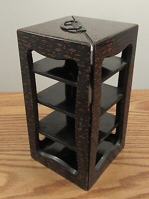 Vintage Japanese wood lacquer tea ceremony portable storage caddy shelf 11x6x6""