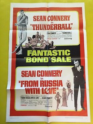James Bond 1968 Thunderball/From Russia With Love 1 Sheet Poster Double Feature