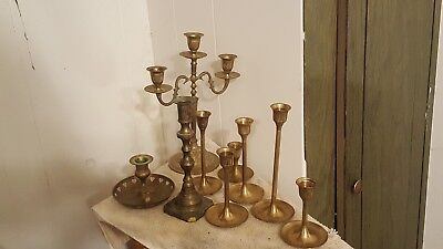 Assorted Antique Brass Candlesticks (Wedding) Large Lot of 9 Various Heights.