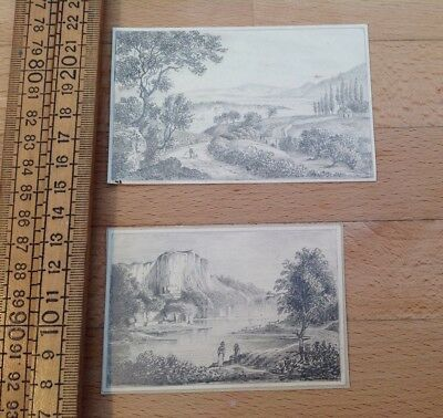 Two Very Nice Small Antique Sketches, Rural / Mountain Scenes