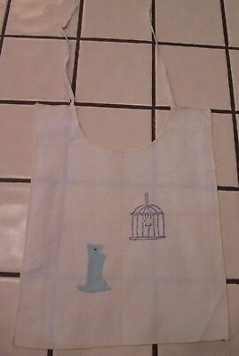 Vintage Hand embroidered & Appliqued linen baby bib