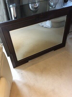 edwardian wooden mirror with bevelled edge