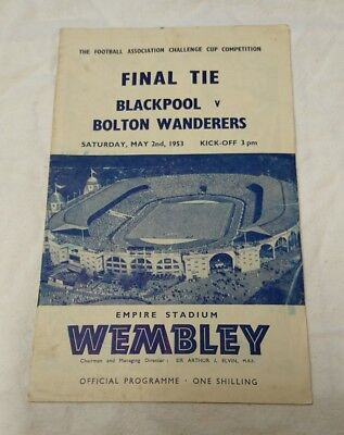 Blackpool V Bolton Wanderers FA Cup Final Football Programme 2nd May 1953