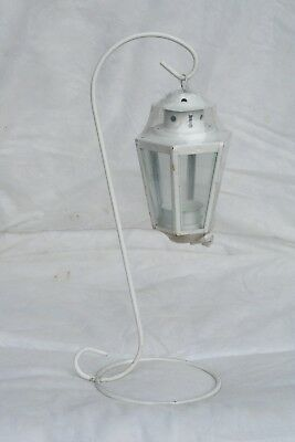 Wholesale stock job lot Garden Metal T-Lite lantern with Stand White x10