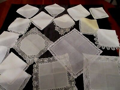 lot of 36 Vintage Cutter/craft White Hankies, Laces,  Embroidered, few monograms