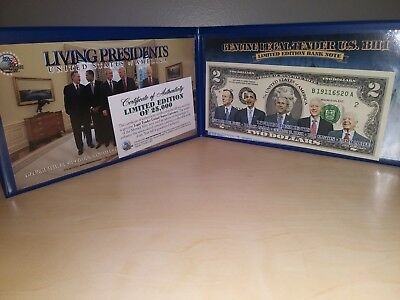 Living Presidents Genuine Legal Tender U.S.Bill. Colorized U.S. $2 Dollar Bill.