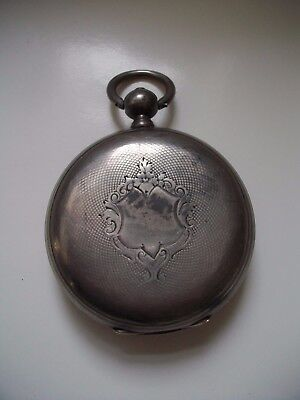Antique Continental Engine Turned Silver Cased Pocket Watch - Vacant Cartouche