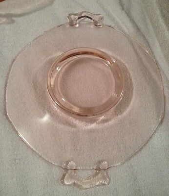 """Fostoria Fairfax Crystal Glass  Rose Plate With Handles Serving 12.5"""""""