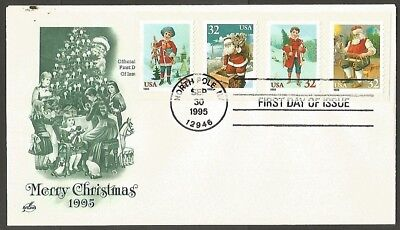 Us Fdc Christmas Peel&stick 32C Stamps First Day Of Issue Cover North Pole Ny