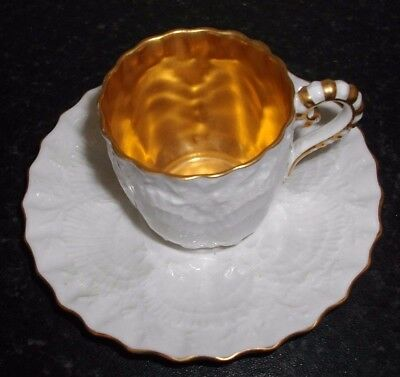 Antique Coalport Handpainted Cabinet Coffee Cup With Gilt Interior & Saucer