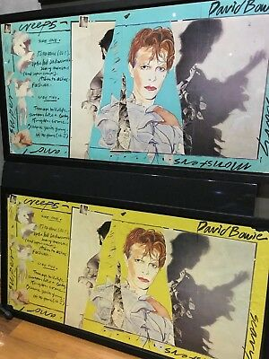 """Very Rare David Bowie Genuine Rca """"scary Monsters"""" Blue Promo Poster Display"""
