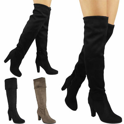0a75eade0956da Womens Ladies Mid Calf Boots Fold Over Long Stretch High Cuban Heel Shoes  Size