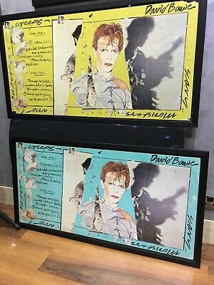 """Very Rare David Bowie Genuine Rca """"scary Monsters"""" Yellow Promo Poster Display"""