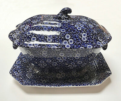 BURLEIGH CALICO BLUE LARGE SOUP TUREEN ON STAND (slight seconds) - NEW/UNUSED