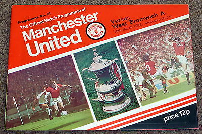 Football League Division 1 1977-78 Man United V West Bromwich Programme - Vgc