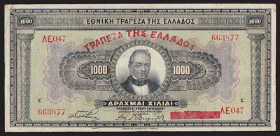 Greece 1928 1000 Drachmai Pick #101b Currency Bank Note P-101b with overprint