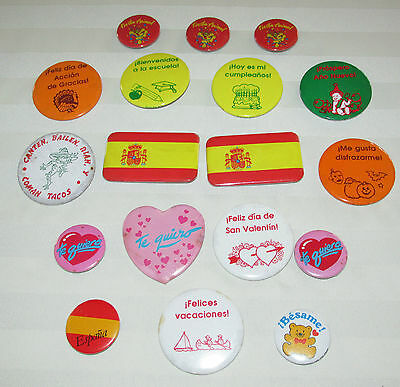 Pinbacks in SPANISH ~ Set of 18 ~ Various sizes~ Used ~ Neat buttons!