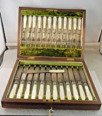 Victorian Mother of Pearl & Silver Plate 25 Piece Fish Cutlery Set