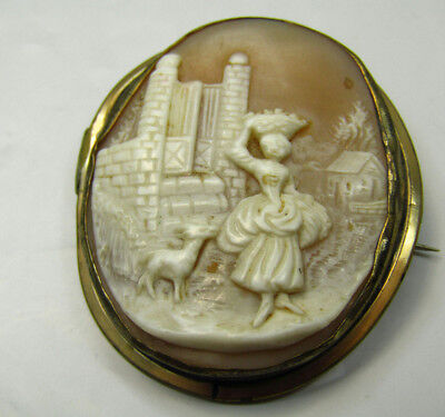Vintage Carved Shell Cameo Jewelry Brooch Pin Girl Woman Working Scene