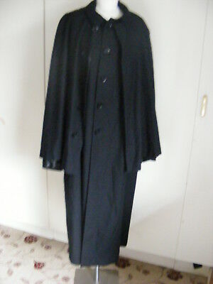 Vintage black wool two tier Inverness Cape Coat Sherlock Holmes 44 chest