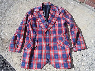 Men's Vintage 1970s Plaid sport Coat Blazer Peters Bunch Lined 44 Long Designer