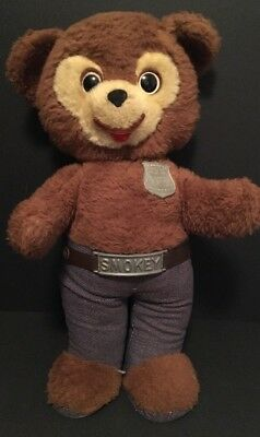 "Vintage 1960's Knickerbocker Plush SMOKEY THE BEAR 15"" Stuffed Animal"