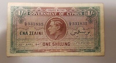 Cyprus One Shilling 1947 George V Rare    Piece Nice Condition  No Reserve!