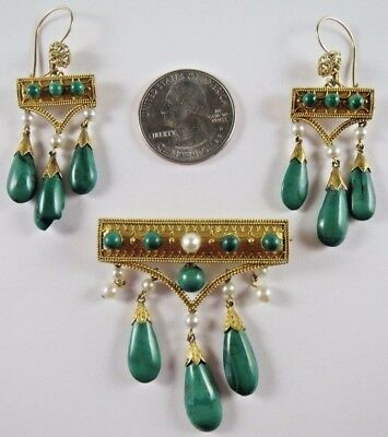 Antique Circa 1860s 14k+ Gold Natural Pearl & Malachite Earrings Brooch Suite
