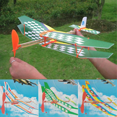 2PCS Rubber Band Elastic Powered Glider Flying Plane Airplane DIY Kids Toy Gift