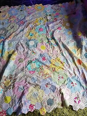 """handmade quilt top 75"""" x 68"""" large king size patchwork floral shabby chic ditsy"""