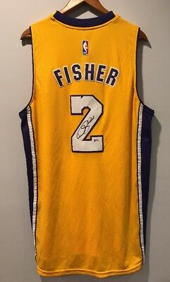 Derek Fisher Autographed Los Angeles Lakers Signed NBA Auto Jersey (BAS COA)