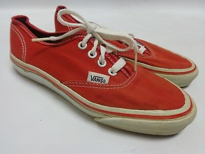 Vtg Vans Canvas Sneakers Women's 7M Red Made In Usa