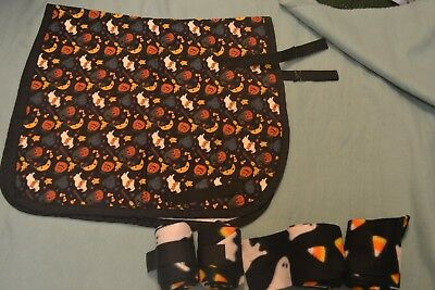Halloween Pony Numnah Saddle Cloth And 4 Ghost Fleece Bandages Used Good Conditi