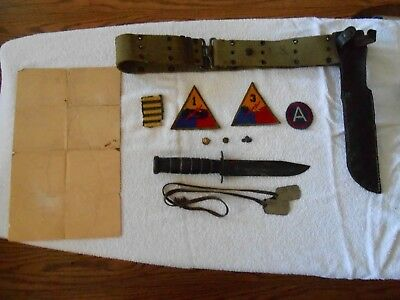 WW2  Tankers grouping.  pins , patches , dogtags , Secret map , belt and knife.
