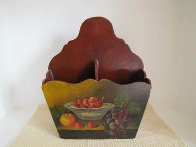 Vintage Autumn Fall Tole Painted Wall Mount Candle Holder